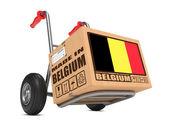 Made in Belgium - Cardboard Box on Hand Truck. — Stock Photo