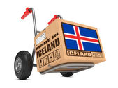 Made in Iceland - Cardboard Box on Hand Truck. — Stock Photo