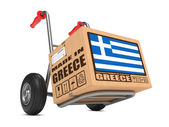 Made in Greece - Cardboard Box on Hand Truck. — Stock Photo