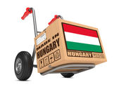 Made in Hungary - Cardboard Box on Hand Truck. — Stock Photo