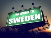 Billboard Welcome to Sweden at Sunrise. — Stockfoto