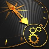 Cogwheel Gear Icon on Golden Compass. — Stock Photo