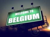 Billboard Welcome to Belgium at Sunrise. — Stock Photo