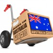 Made in Australia - Cardboard Box on Hand Truck. — Foto de Stock