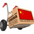Made in China - Cardboard Box on Hand Truck. — Stock Photo #37184449