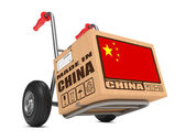 Made in China - Cardboard Box on Hand Truck. — Stock Photo