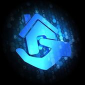 Home in Hand Icon on Digital Background. — Stock Photo