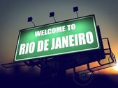 Billboard Welcome to Rio De Janeiro at Sunrise. — Stock Photo