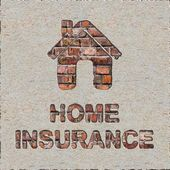 Home Insurance Concept on the Brick Wall. — Stock Photo