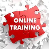 Online Training on Red Puzzle. — Stock Photo