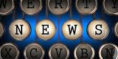 News on Old Typewriter's Keys. — Stock Photo
