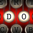 DDOS on Old Typewriter's Keys. — Stock Photo