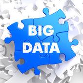 Big Data on Blue Puzzle. — Stock Photo