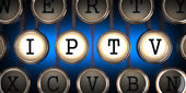 IPTV on Old Typewriter's Keys. — Stock Photo