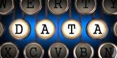 Data on Old Typewriter's Keys. — Stock Photo