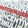 Stock Photo: Motivation - Red Text on White Wordcloud.