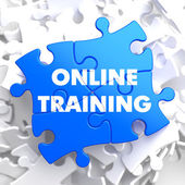 Online Training on Blue Puzzle. — Stock Photo