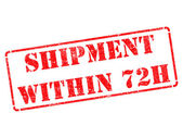 Shipment within 72h on Red Rubber Stamp. — Stock Photo