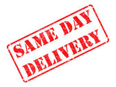 Same Day Delivery on Red Rubber Stamp. — Stock Photo