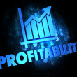 Profitability Concept on Dark Digital Background. — Stock Photo