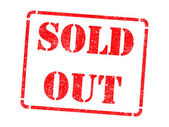 Sold Out on Red Rubber Stamp. — Stock Photo