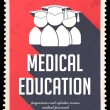 Stock Photo: Medical Education on Red in Flat Design.