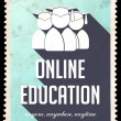 Stock Photo: Online Education on Light Blue in Flat Design.