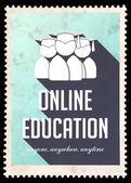 он-лайн образование на светло-голубой в плоский дизайн. — Стоковое фото