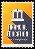 Financial Education on Yellow in Flat Design. — Stock Photo