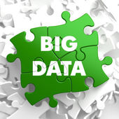 Big Data on Green Puzzle. — Stock Photo