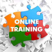Online Training on Multicolor Puzzle. — Stock Photo