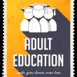 Stock Photo: Adult Education on Yellow in Flat Design.