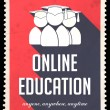 Stock Photo: Online Education on Red in Flat Design.