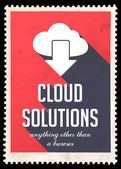 Cloud Solutions on Red in Flat Design. — Stock Photo