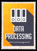 Data Processing on Yellow in Flat Design. — Stock Photo