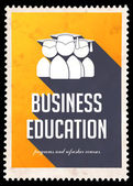 Business Education on Yellow in Flat Design. — Stock Photo