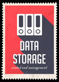 Data Storage on Red in Flat Design. — Stock Photo
