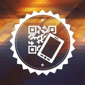 QR Code with Smartphone on Triangle Background. — Stock Photo