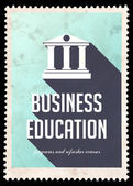 Business Education on Blue in Flat Design. — Stock Photo