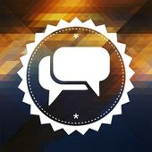 Speech Bubble Icon on Retro Triangle Background. — Stock Photo
