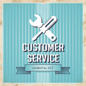 Customer Service Concept on Blue in Flat Design. — Stock Photo
