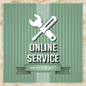 Online Service Concept on Green in Flat Design. — Stock Photo