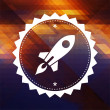 Stock Photo: Icon of Go Up Rocket on Triangle Background.