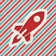Stock Photo: Icon of Go Up Rocket on Striped Background.