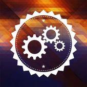 Cogwheel Gear Icon on Triangle Background. — Stock Photo