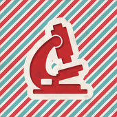 Microscope Icon on Retro Striped Background. — Stock Photo