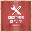 Customer Service Concept on Red in Flat Design. — Stockfoto