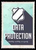 Data Protection Concept on Blue in Flat Design. — Stock Photo