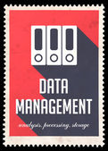 Data Management on Red in Flat Design. — Stock Photo