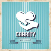 Charity on Blue Striped Background in Flat Design. — Stock Photo